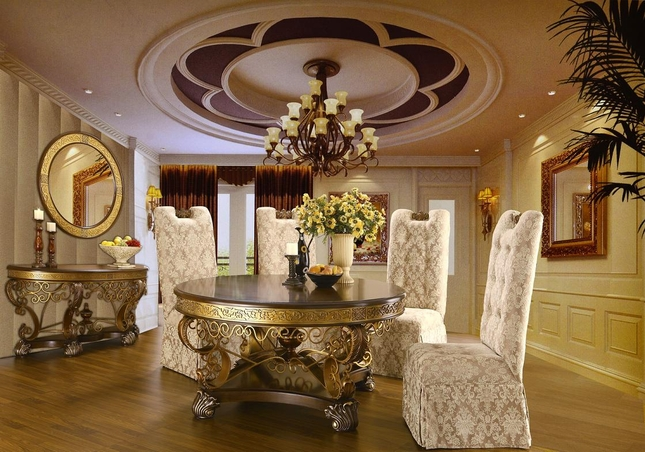 Ornate Gold Trimmed Round Dining Set Homey DesignFree