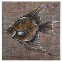 Iron Fish Rustic Burnished Gray Glaze Metal Wall Art 04273
