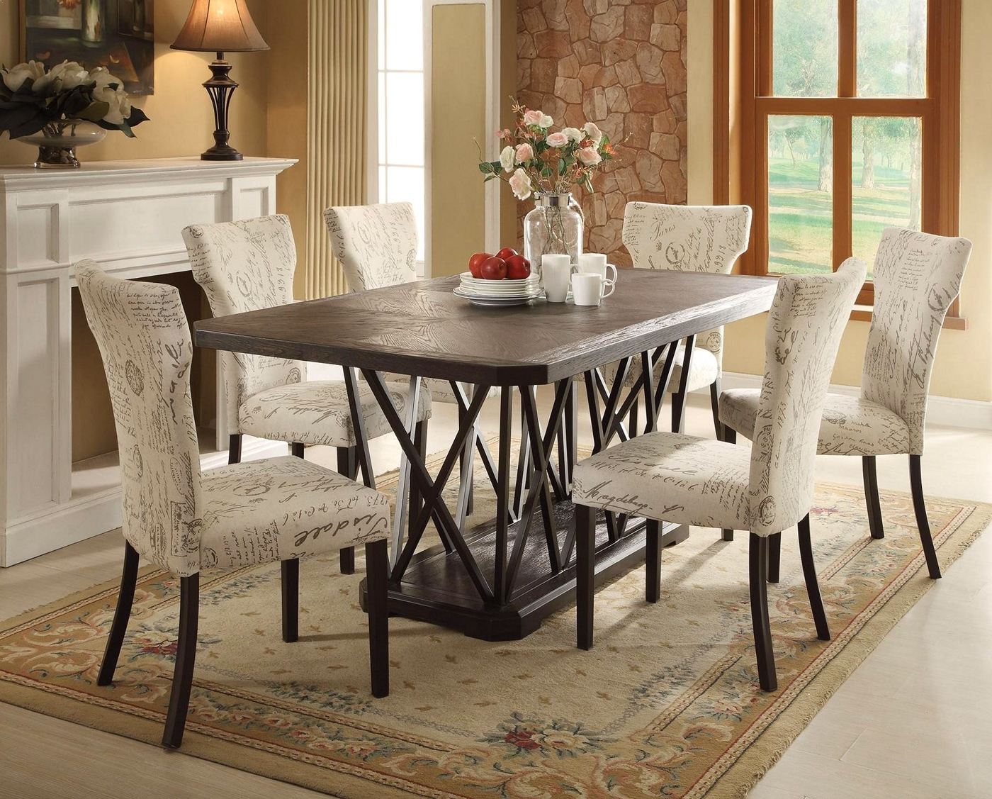 Jamon 5 Pc 76 Rustic Chic Antique Black Wooden Top Dining