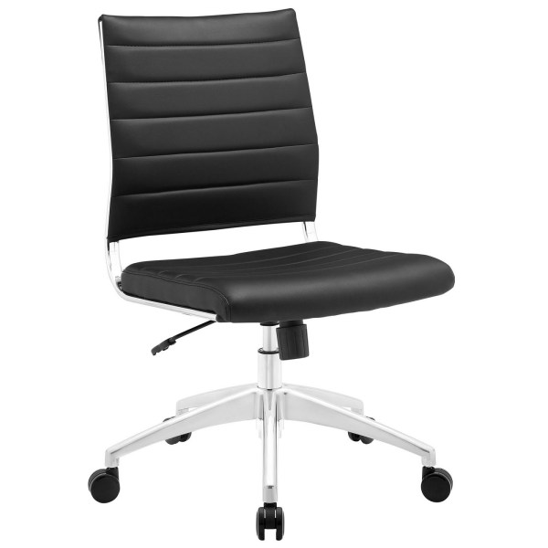 mid back office chair black Jive Armless Upholstered Ribbed Vinyl Mid Back Office