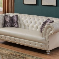 Glam Sofa Set Least Expensive Beds Josephine Crystal Tufted Chesterfield In Beige