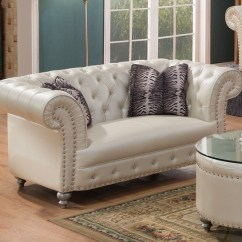 Glam Sofa Set Leather Chesterfield Beige Josephine Crystal Tufted Loveseat In Bonded