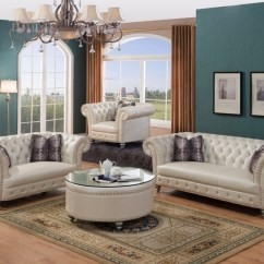 Glam Sofa Set Italian Brands In India Josephine Crystal Tufted Loveseat Beige Bonded Leather