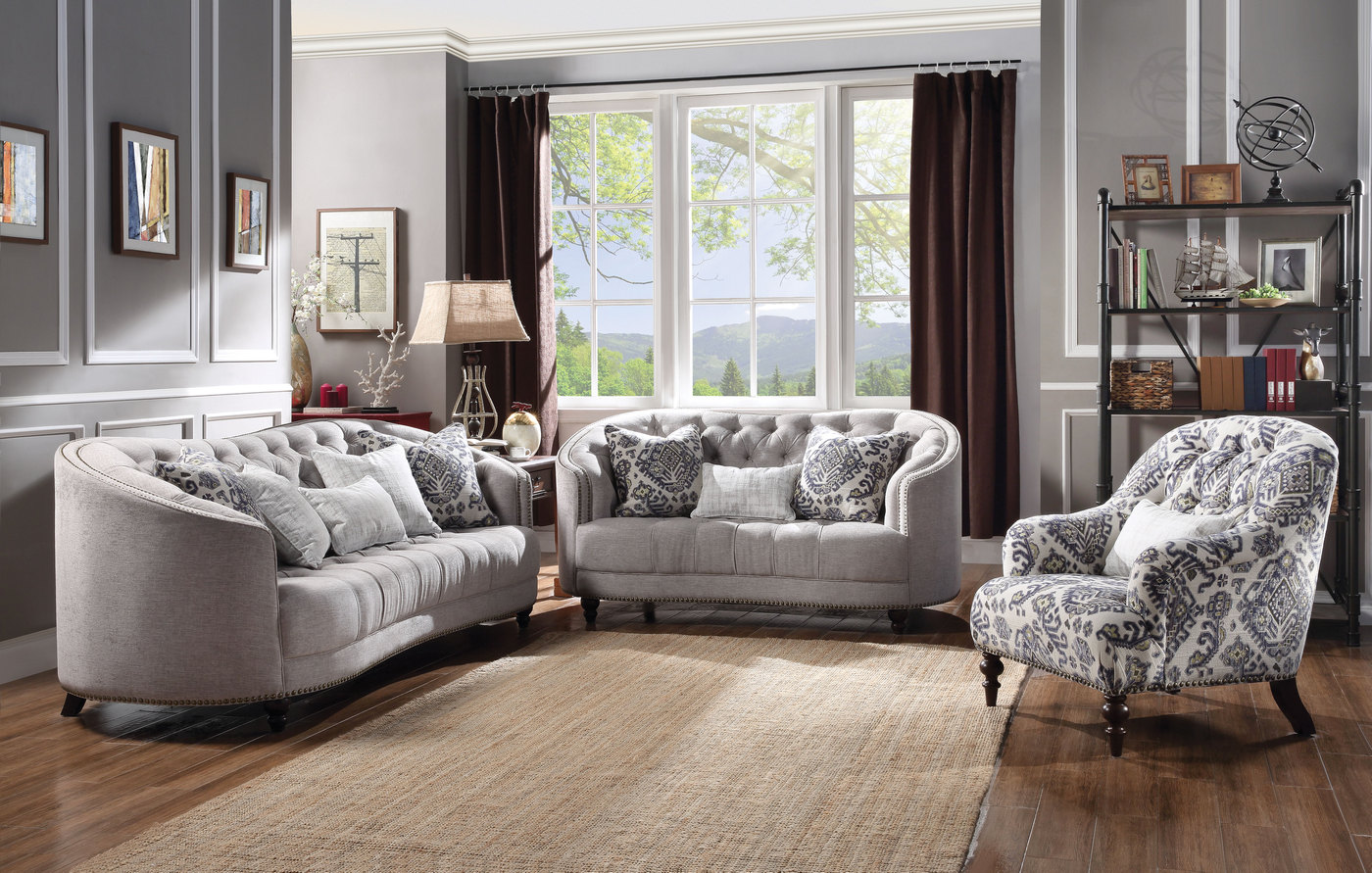 tufted sofa set standard 4 seater dimensions julia curved light gray w plush