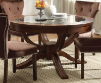 "Kayden Transitional Round 54"" Dining Table w/ Glass Top in ..."