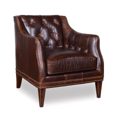 Full Grain Leather Chair Bath Chairs For Elderly Kennedy Walnut Transitional Button Tufted
