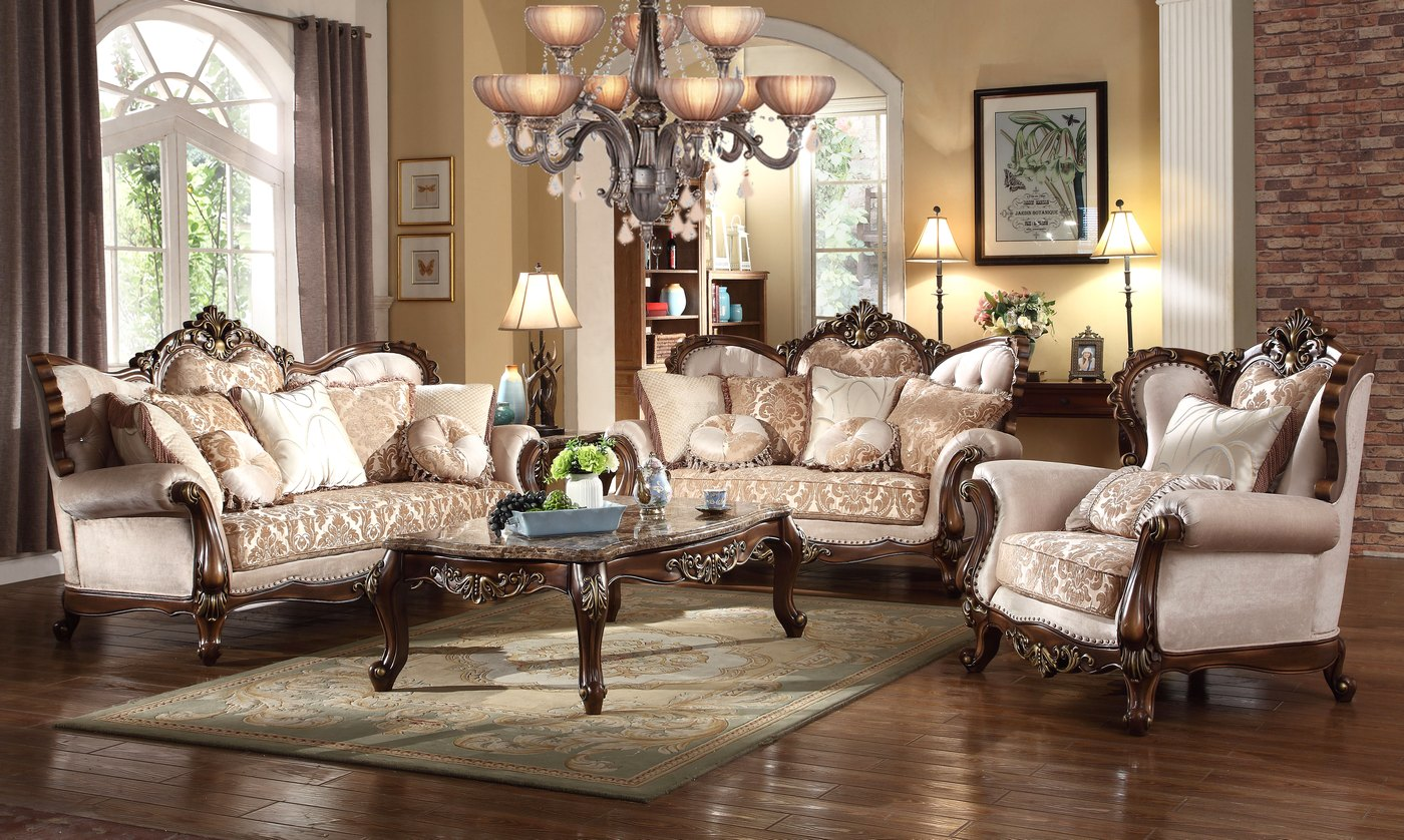 Kensington French Provincial Beige Chenille Sofa