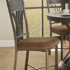 Iron Table And Chairs Set Basket Chair Hanging Of 2, Kieran Rustic Antique Black Metal Side W/ Brown Fabric Seat