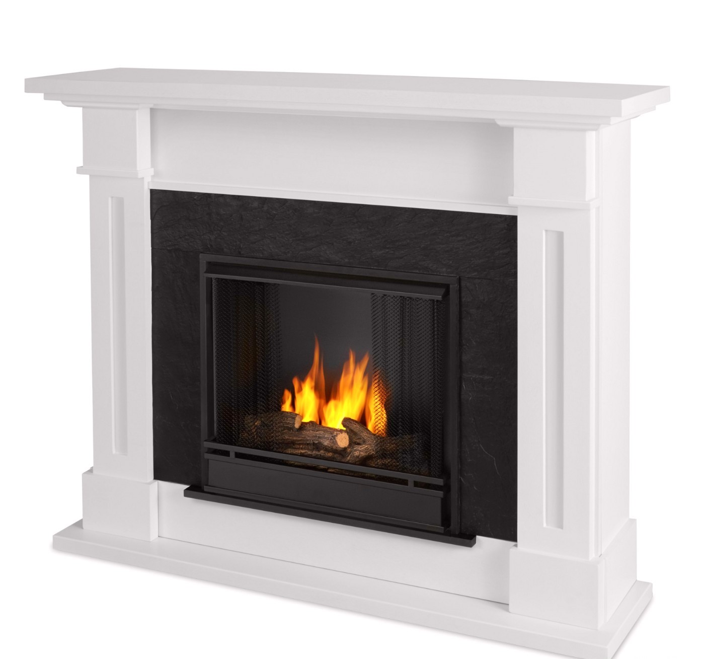 Kipling Ventless Gel Fuel Fireplace In White With Cast Logs 54x42