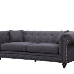 Gray Linen Chesterfield Sofa Broyhill Sectional Veronica Kristopher Modern Grey Tufted