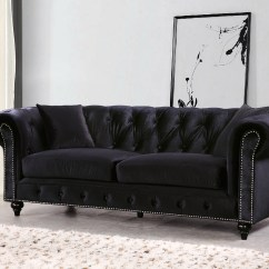 Black Velvet Chesterfield Sofa Bed Top Rated Sofas 2017 Kristopher Modern Button Tufted
