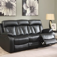 Modern Bonded Leather Sectional Sofa With Recliners Austin Kyson Black Reclining