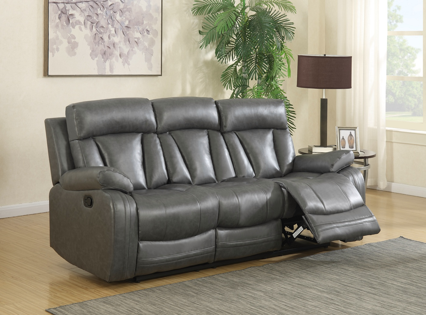 bonded leather sofa and loveseat gray sectional chaise kyson modern grey reclining