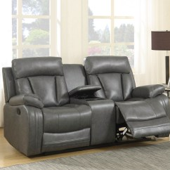 Gray Leather Sofa Recliner Apartment Size Sofas Kyson Modern Grey Bonded Reclining And Loveseat