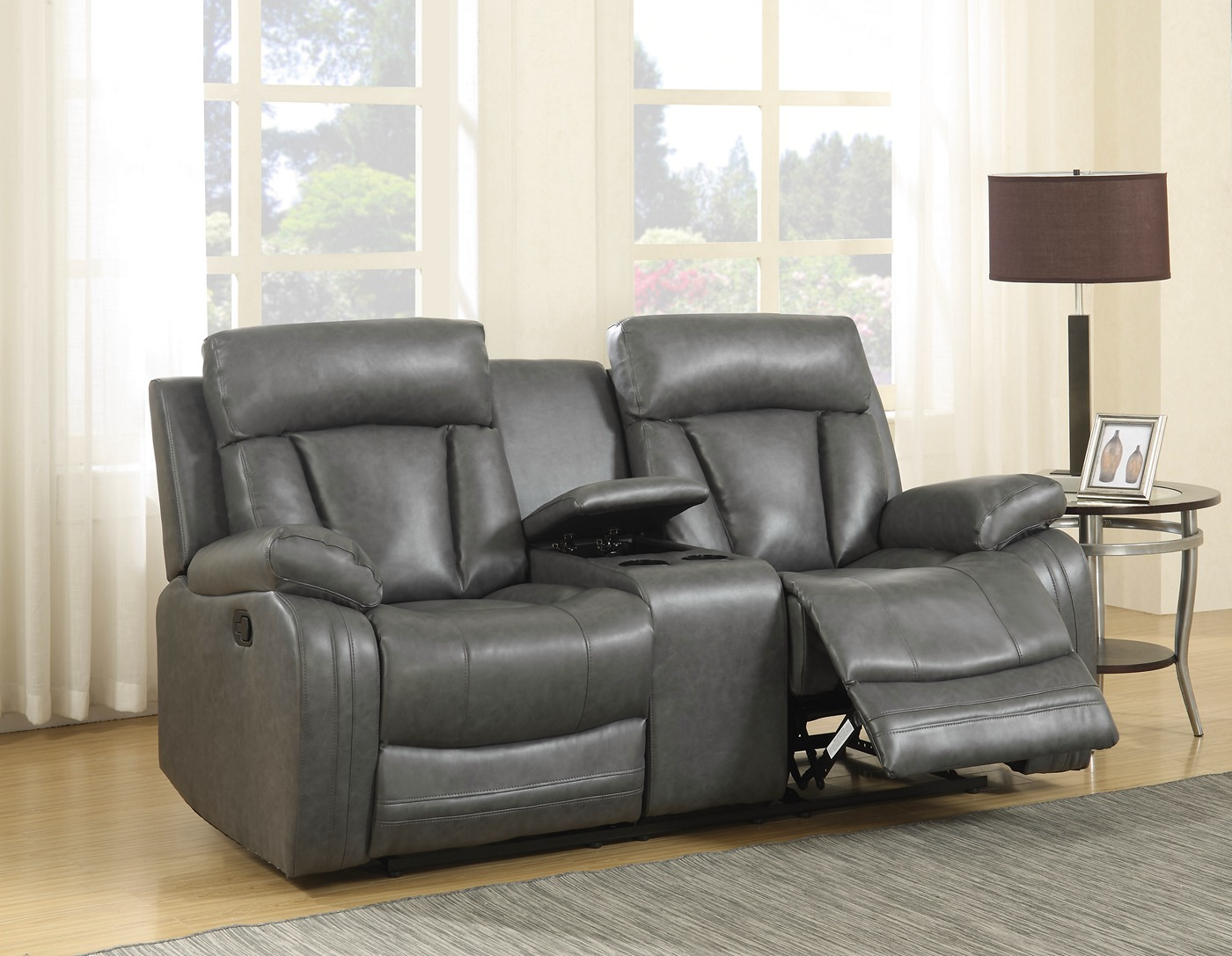 modern bonded leather sectional sofa with recliners ikea manstad bed for sale kyson grey reclining and loveseat
