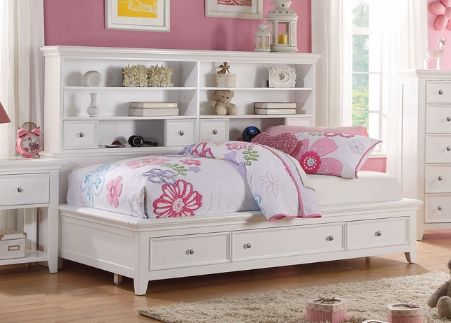Lacene Kids Traditional Girls Youth Full Daybed W Storage In White Finish