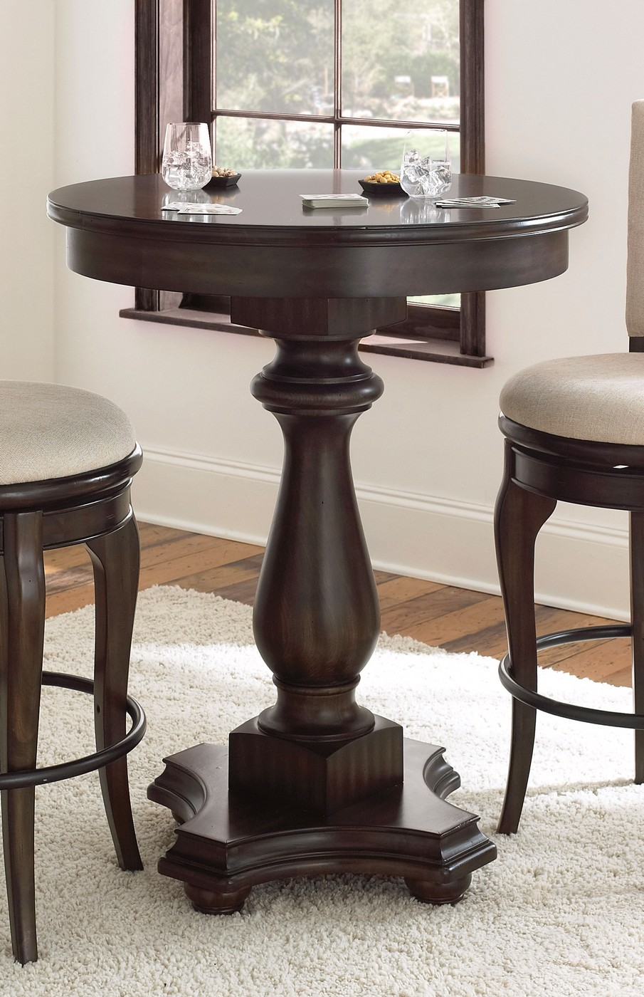 Leona Old World Contemporary 42 Quot Round Bar Table Charcoal