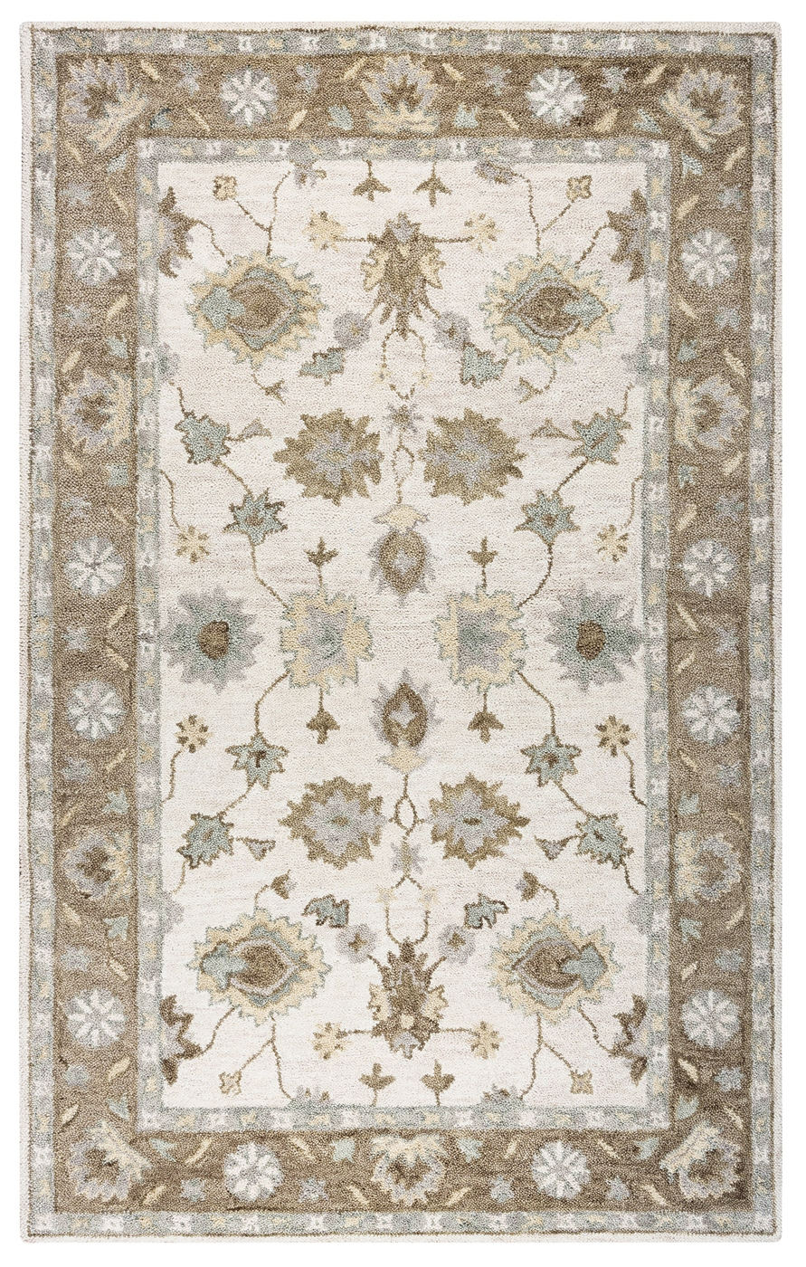 Leone Bordered Vines Wool Area Rug In Natural  Brown 9