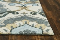 Leone Traditional Motifs Floral Wool Area Rug In Beige ...