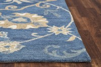 Leone Traditional Motifs Vines Wool Area Rug In Blue ...