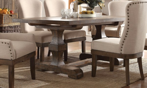 """Leonel 72"""" Trestle Dining Table In Brown Distressed Wood"""
