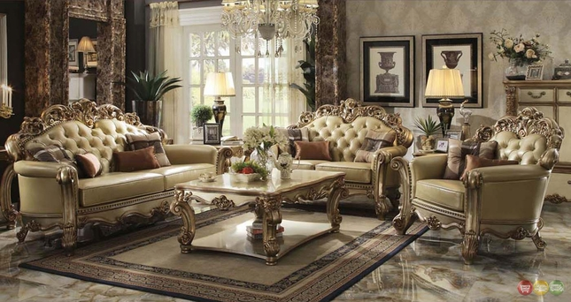 formal living room set blinds for bay windows vendome collection furniture traditional gold patina sets w carved accents