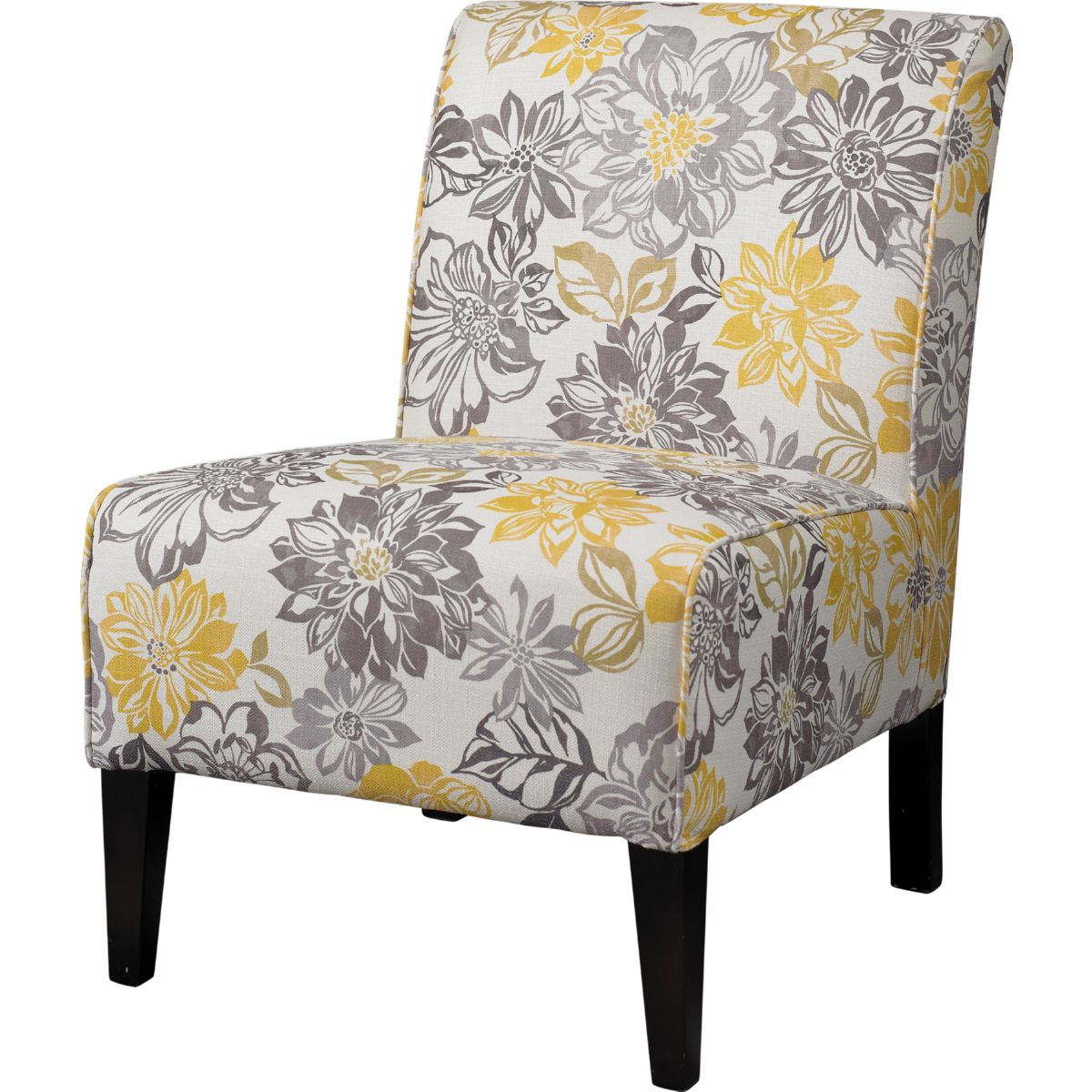 Yellow And Grey Accent Chair Lily Bridey Accent Chair With Grey And Yellow Floral Pattern