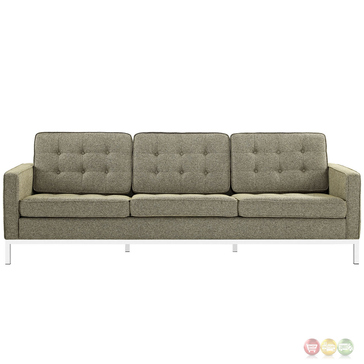oatmeal sofa set sofas for small rooms ideas mid century modern loft 2pc button tufted and loveseat