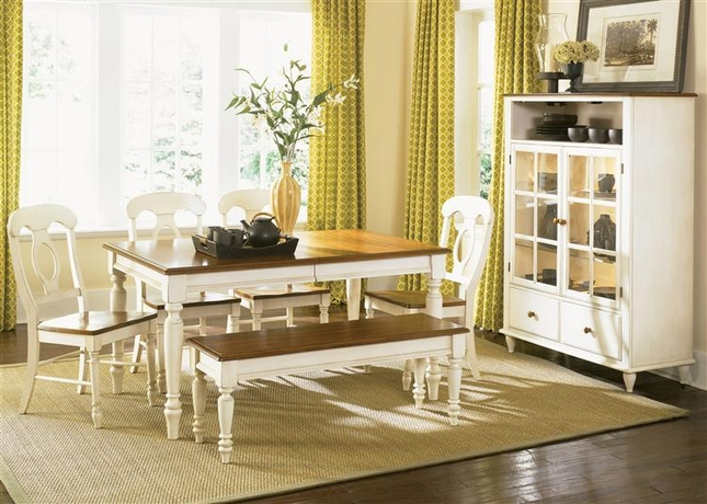 Low Country Cottage Style White Wood Dining Room Furniture