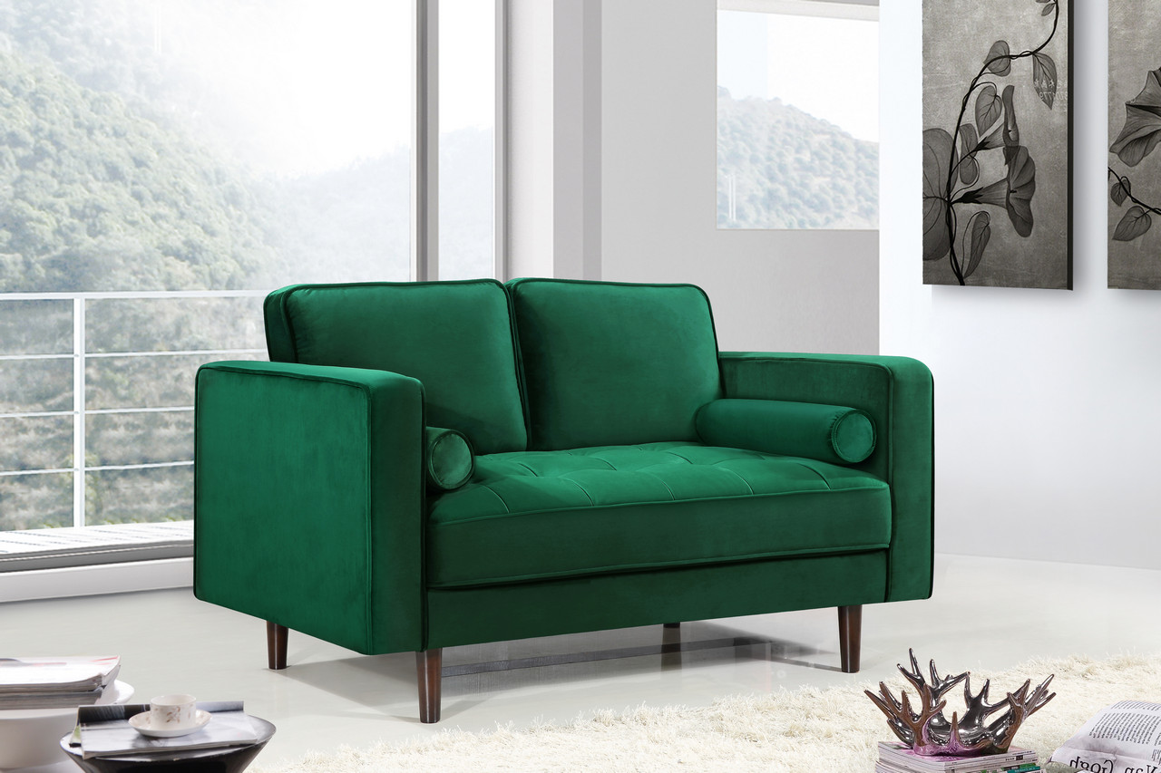 green velvet tufted chair sears outside chairs macie deep sofa set with bolster