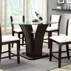 Pub Height Chairs Small Round Bedroom Manhattan Iii Contemporary Dark Cherry Counter Dining Set With Padded Leatherette Chair ...