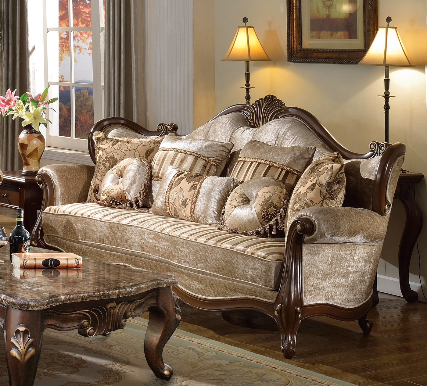 Marseille french provincial sofa u0026 loveseat set in
