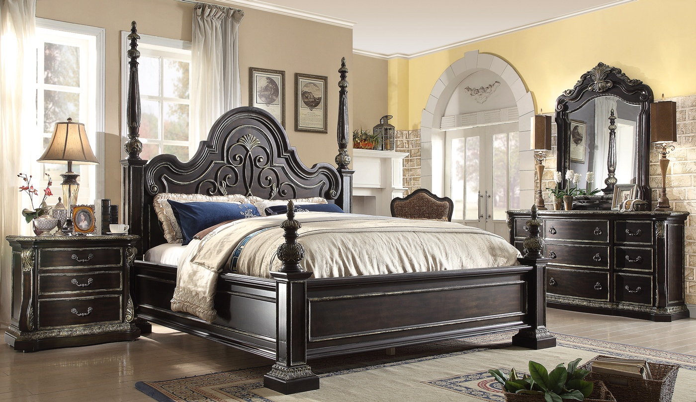 Matteo Gothic Style 4 Pc California King Bed Set In Ebony