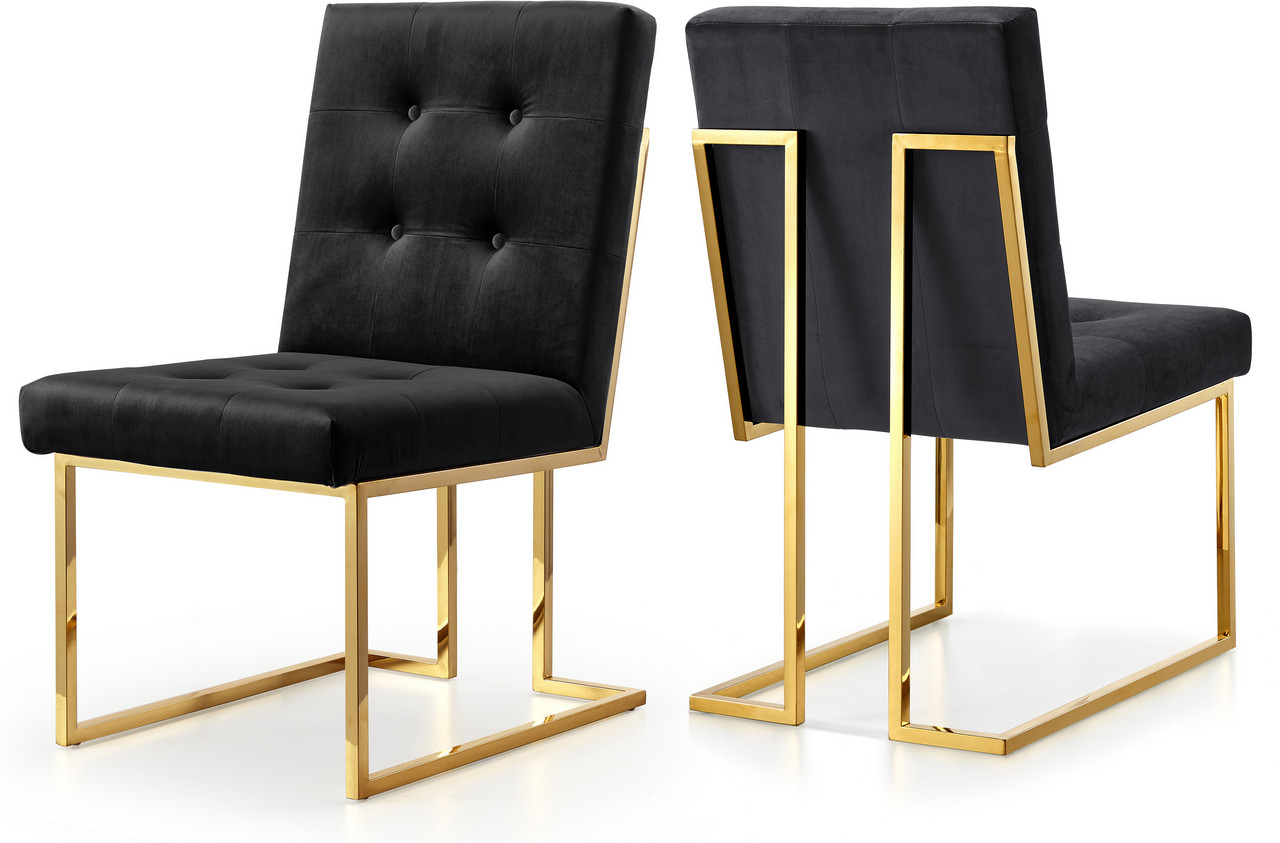 Gold Velvet Chair Set Of 2 Melina Modern Button Tufted Black Velvet Dining