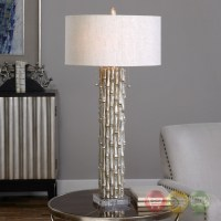 Metallic Silver Table Lamp With Textured Bamboo Like Base ...