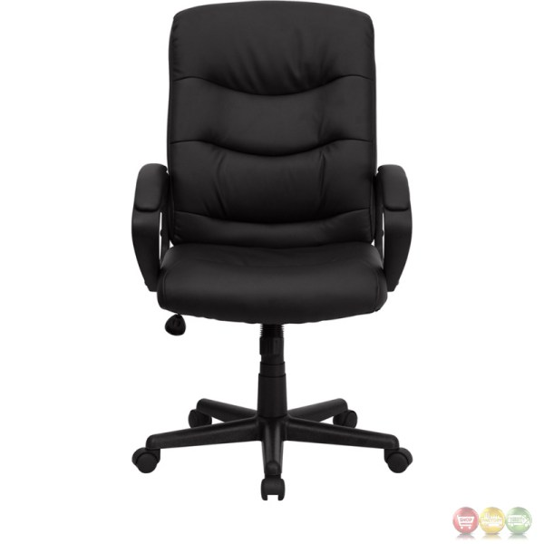 mid back office chair black Mid-Back Black Leather Office Chair GO-977-1-BK-LEA-GG