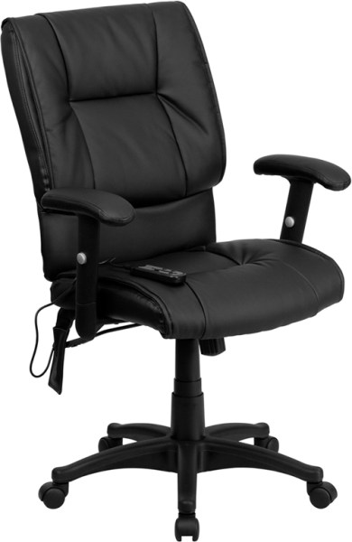mid back office chair black Mid-back Massaging Black Leather Executive Swivel Office Chair