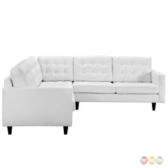 White Bonded Leather Sectional Sofa Set With Light Sofas For Small Spaces Recliners Button Tufted Modern