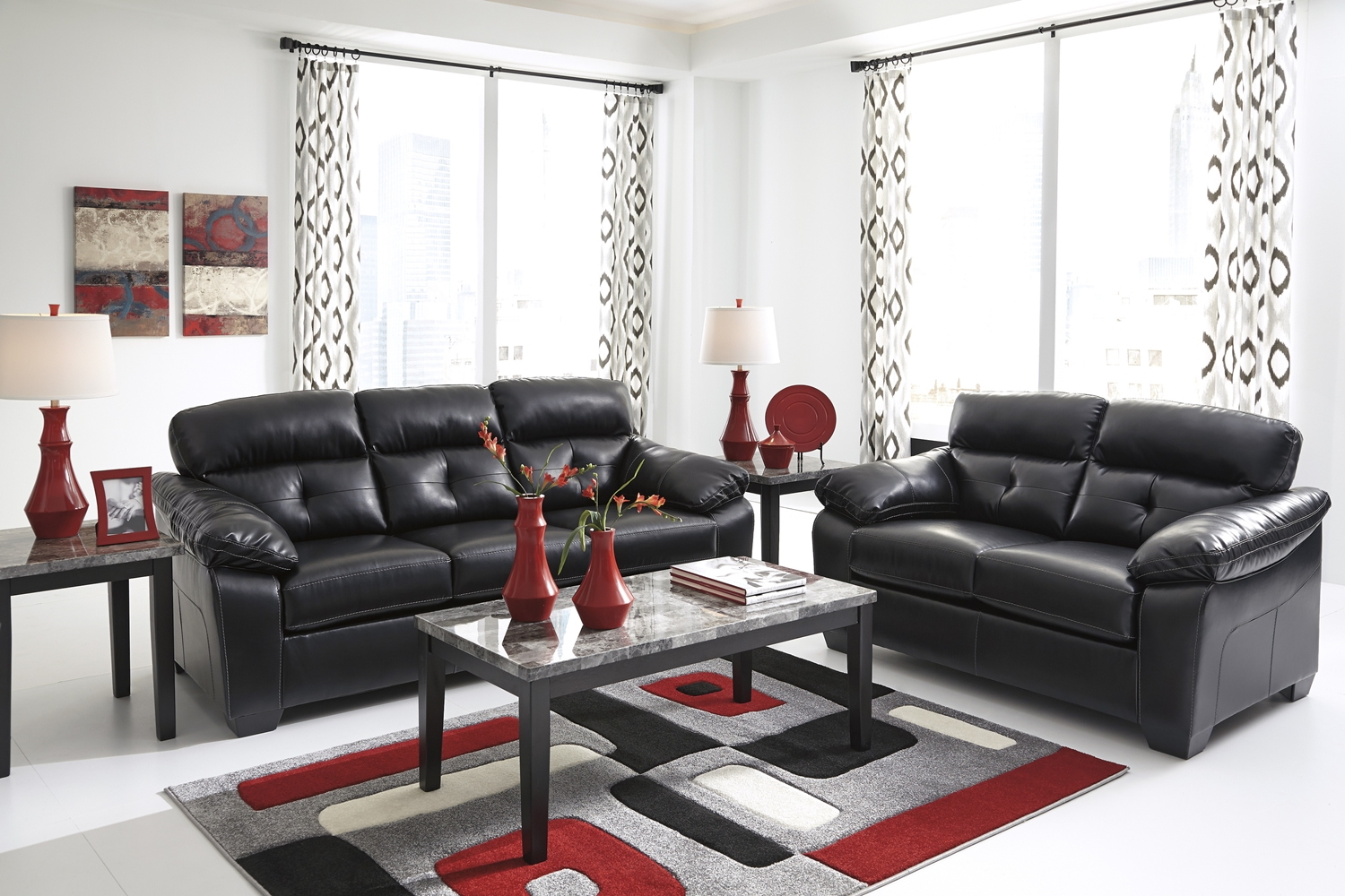 Black Living Room Chair Midnight Black Casual Contemporary Living Room Furniture