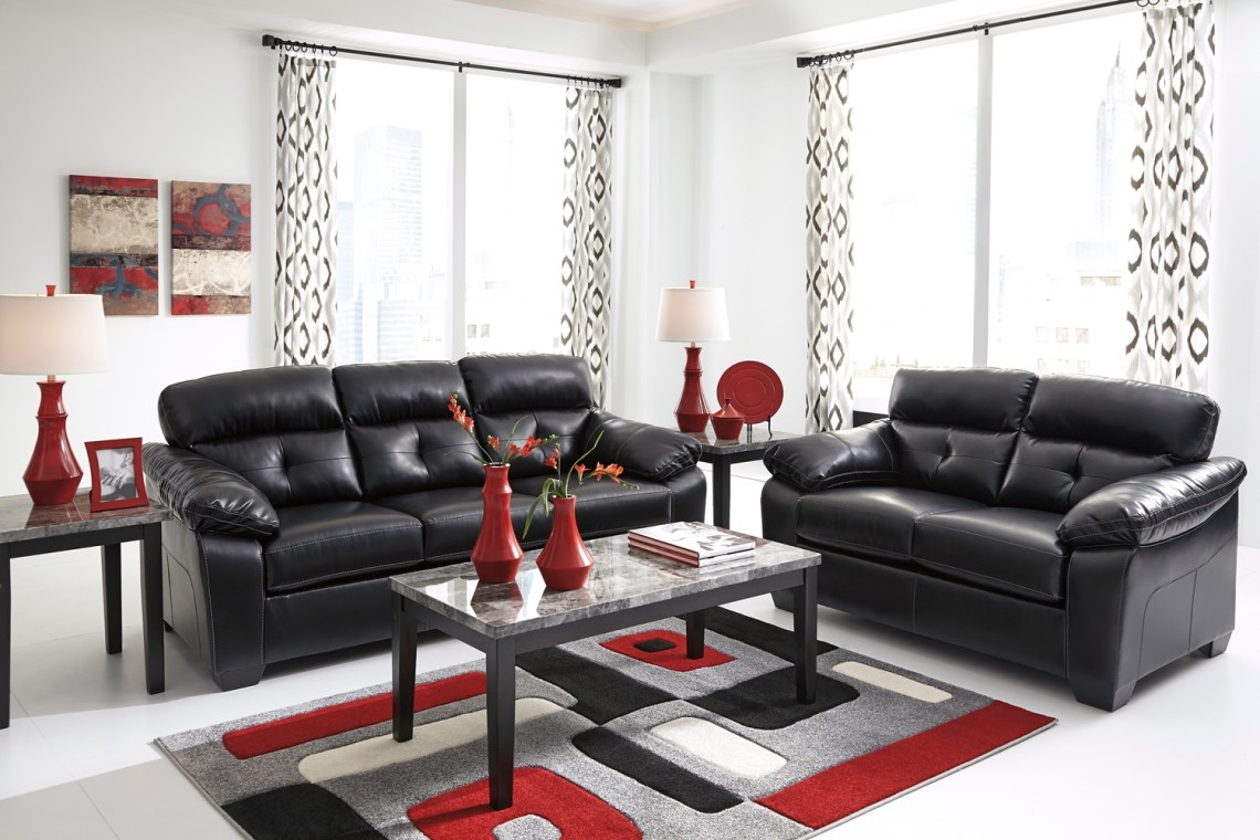 Midnight Black Casual Contemporary Living Room Furniture ...
