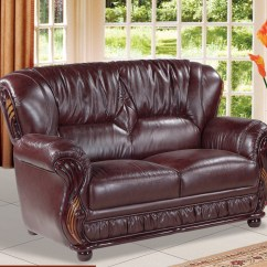 Burgundy Leather Sofa And Loveseat Lazy Boy Reclining Set Mina With Wood Accents
