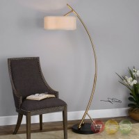 Modern Vardar Curved Brass Adjustable Floor Lamp With Rust ...