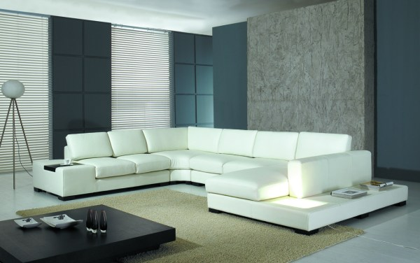 modern living room with sectional sofa Modern White Bonded Leather Sectional Sofa T35