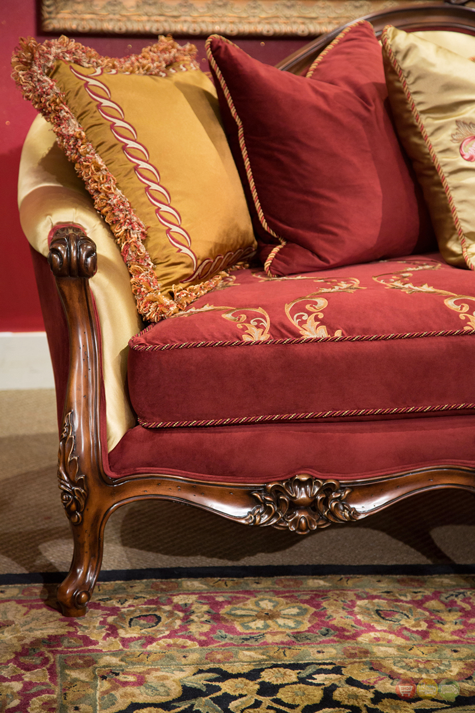 parker sofa and loveseat lazy boy collins colors monique victorian ruby red gold & in ...