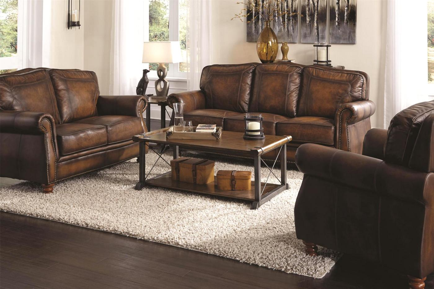 real leather sofa sets grey nailhead set montbrook traditional brown genuine