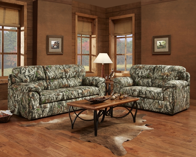 camo living room set color schemes brown leather furniture mossy oak camouflage sofa loveseat duck hunting