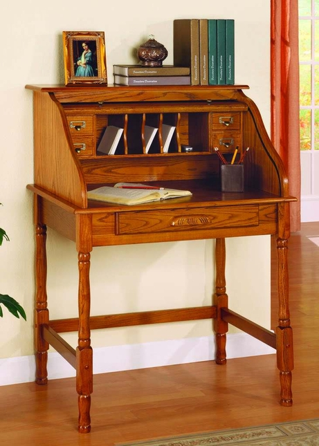 Old World Oak Finish Roll Top Secretary Office DeskHome
