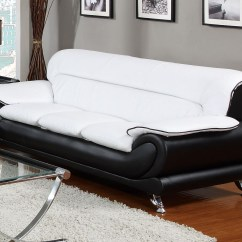 Cheap Sofa Legs Rialto Lazy Boy Orin Modern Black And White Bonded Leather W Chrome