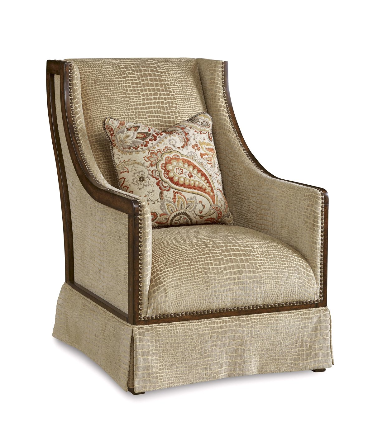Wood Frame Accent Chairs Palazzo Italian Beige Croc Skin Accent Chair With Exposed