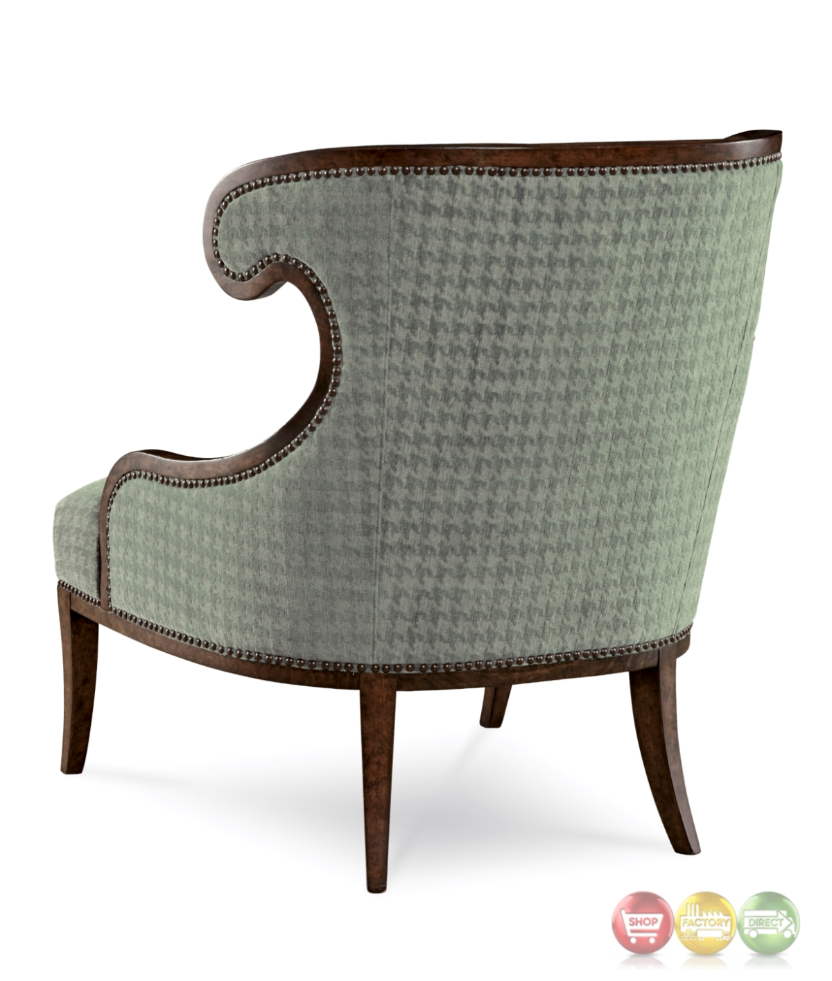 Palazzo Italian Curved Accent Chair With Faded Teal